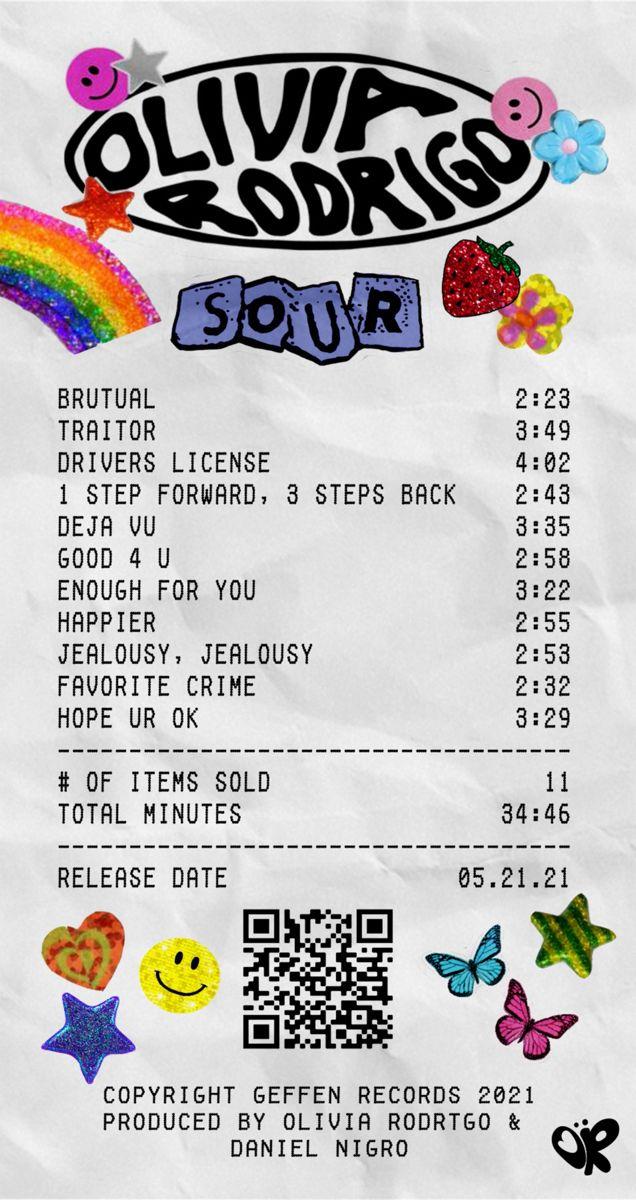 olivia rodrigo - sour album receipt
