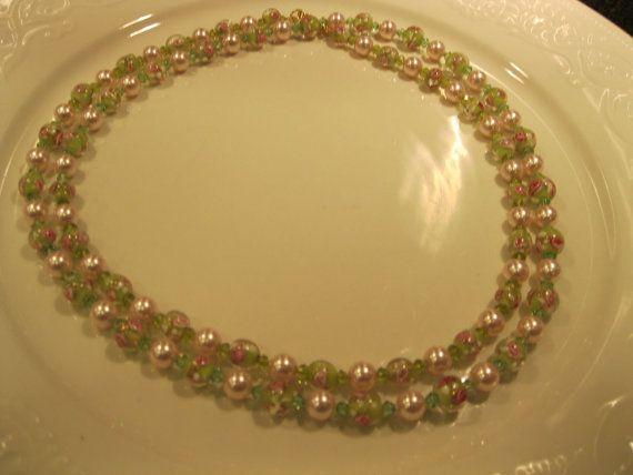 Long Flapper Necklace in Pink And Green by MonasCreationsFL, $40.00