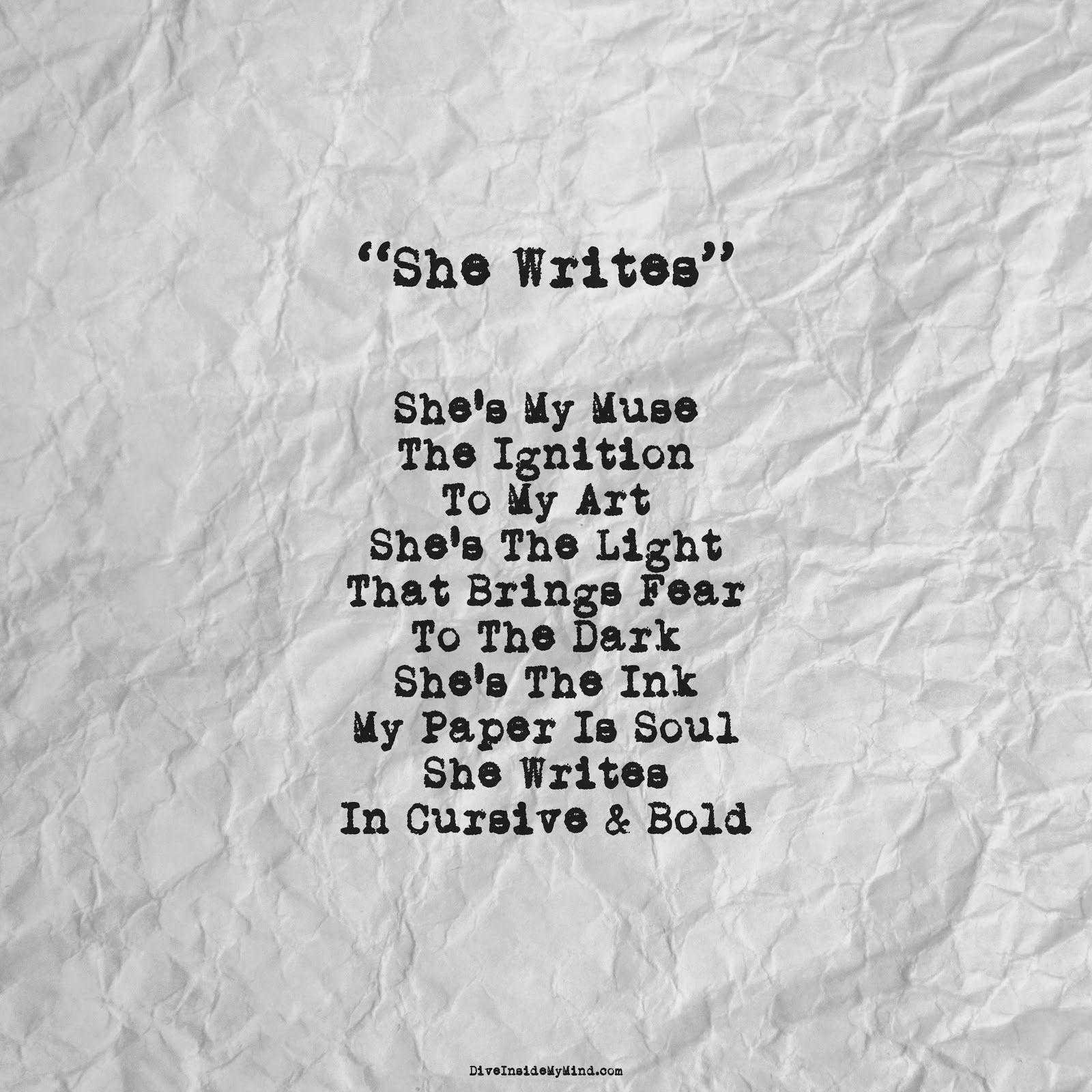 She Writes Writing Cursive Writing Poetic Words