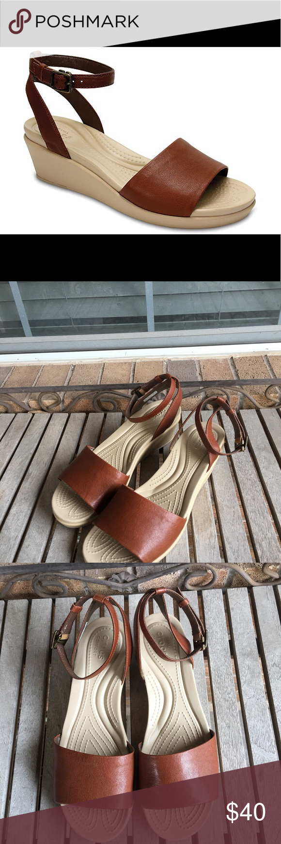 9d6a21f27ab2 Crocs Leigh-Ann Ankle Strap Leather Wedge Sandal NWOT! All of the best  attributes