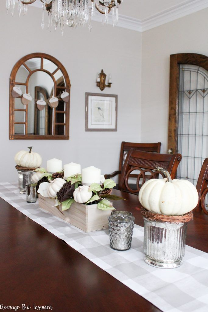 My Dining Room Decorated for Fall | Neutral tones, Mercury glass and ...