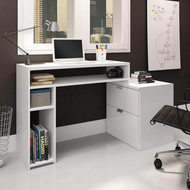 Mesa Para Computador Com 2 Gavetas Multifuncional Branco