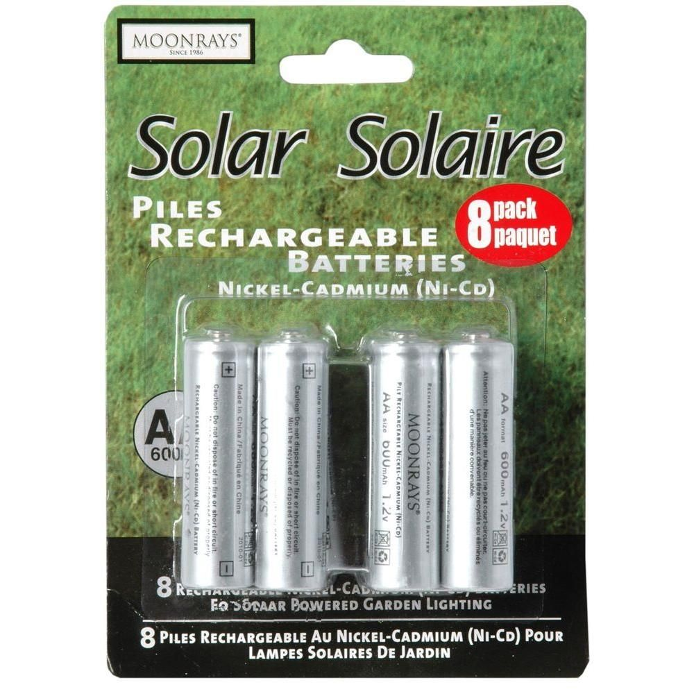 Moonrays Rechargeable 600 Mah Nicd Aa Batteries For Solar Powered Units 8 Pack 47740sp Solar Solar Power Solar Lights