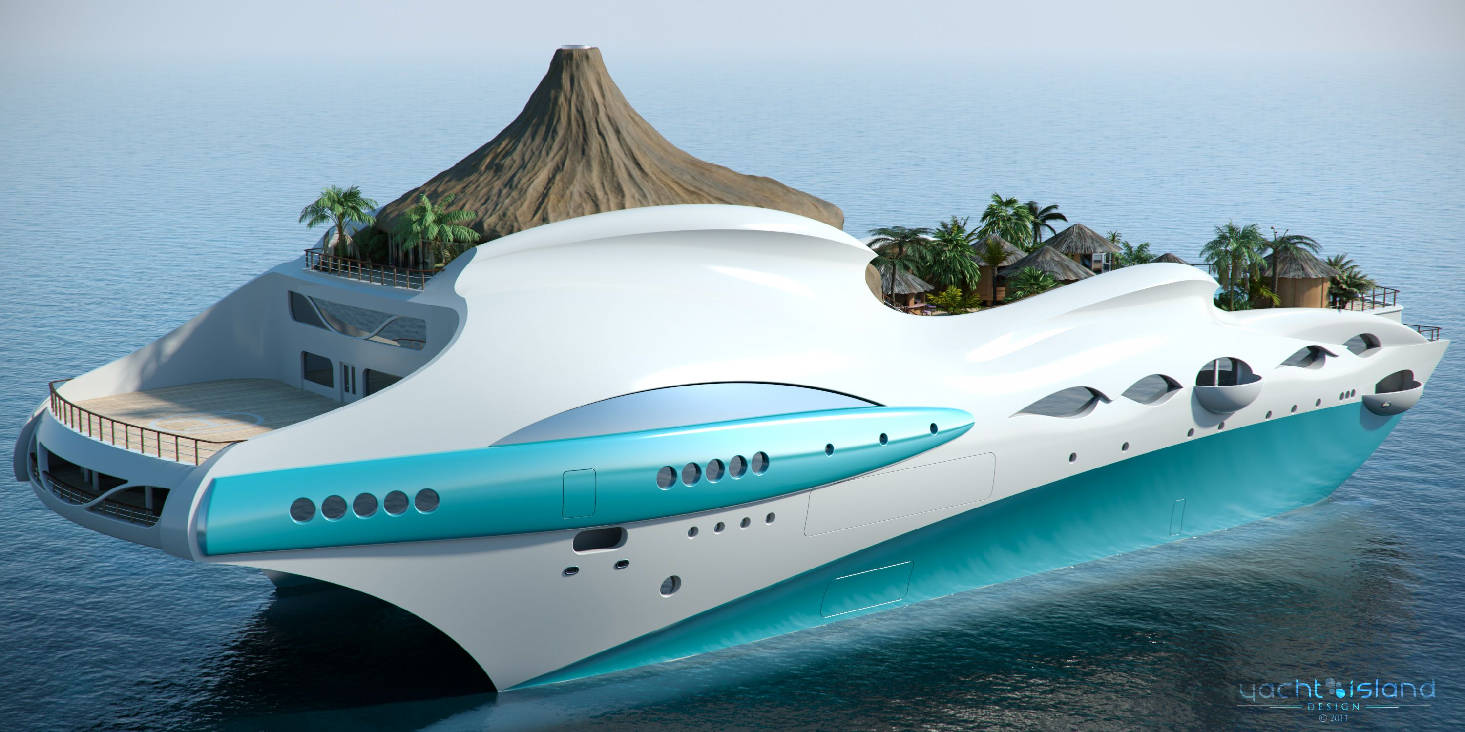 UK based yacht design company Yacht Island Designs created this floating  tropical island concept called the Tropical Island Paradise.