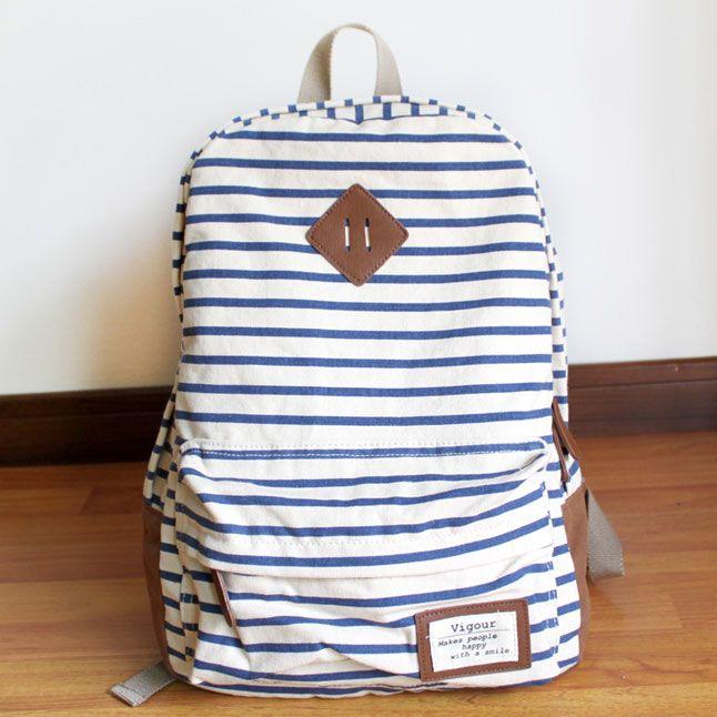 New Summer Blue Striped Leisure Canvas Backpack  f7f22daa62b33
