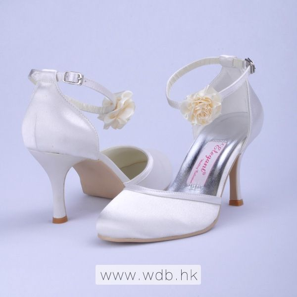 "Attractive 3"" Hand Made Flower Almond Toe D'Orsay - White Satin Wedding Shoes (11 colors) $62"
