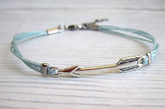 3be23a58753d3 Silver Arrow Bracelet For Men - Men's Blue Cord Bracelet - Mens ...