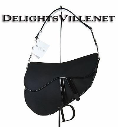 a448535bd57b Christian Dior SNY44001 Logo Saddle Satin Nylon Handbag Silver   Black  beautiful patent nylon front flap