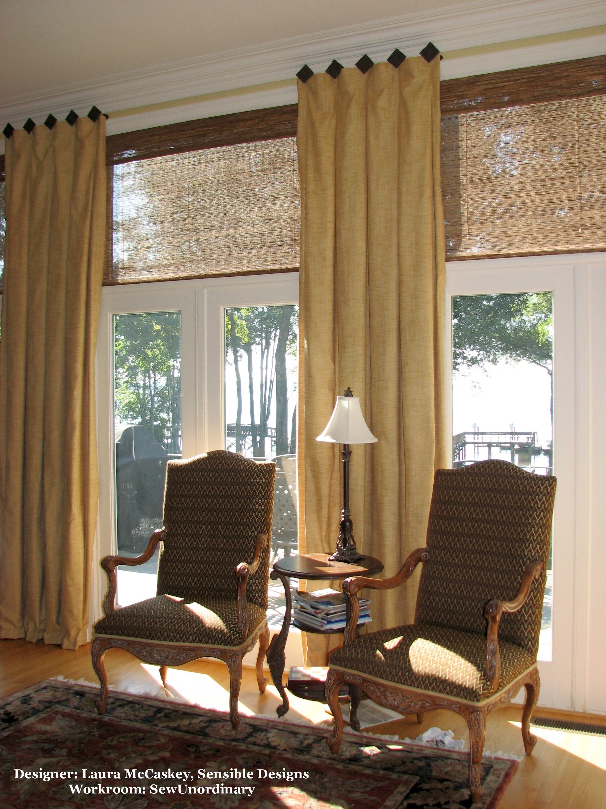 Window covering ideas  inverted box pleats with woven wood shades  window treatments