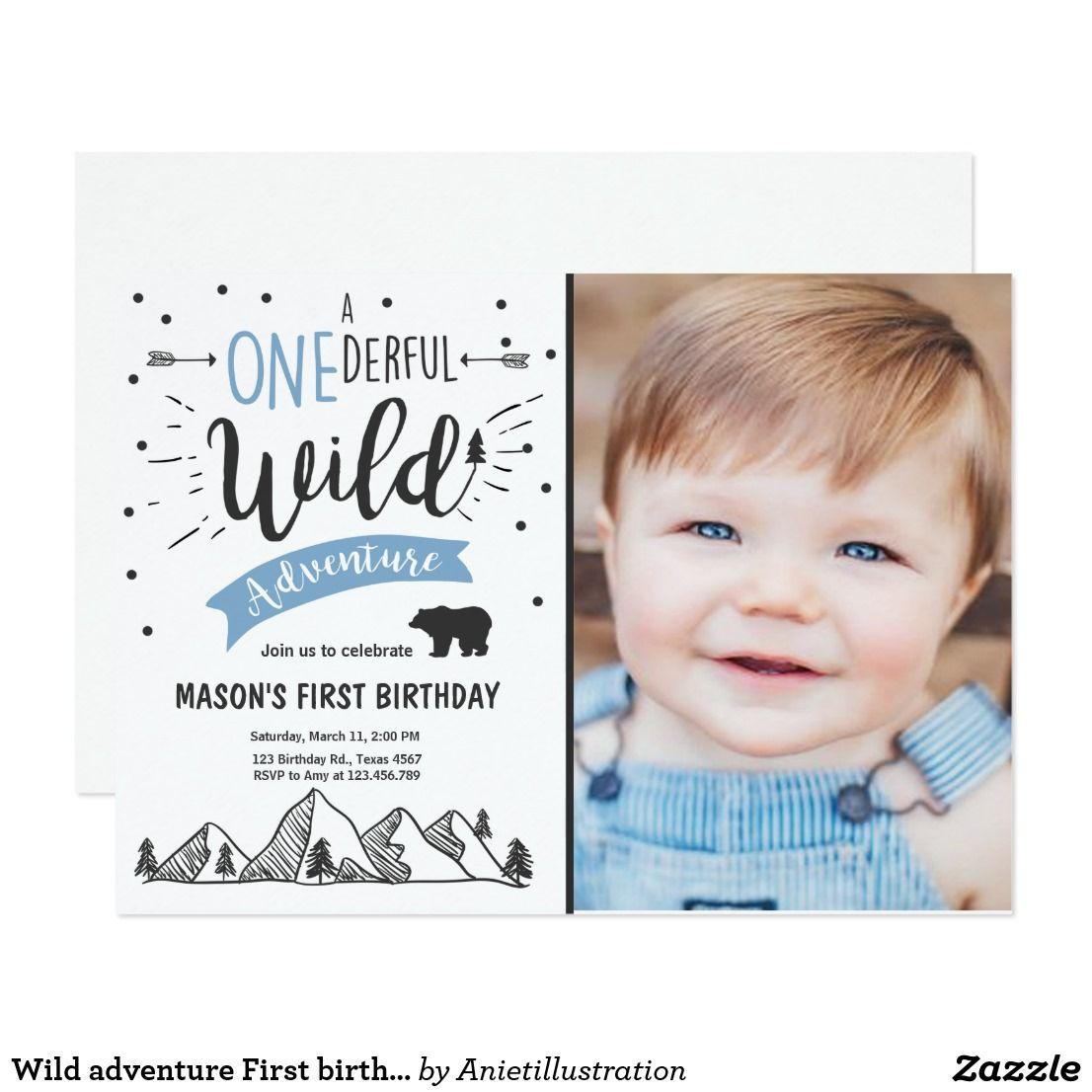 Wild adventure First birthday invitation one Blue | Birthdays
