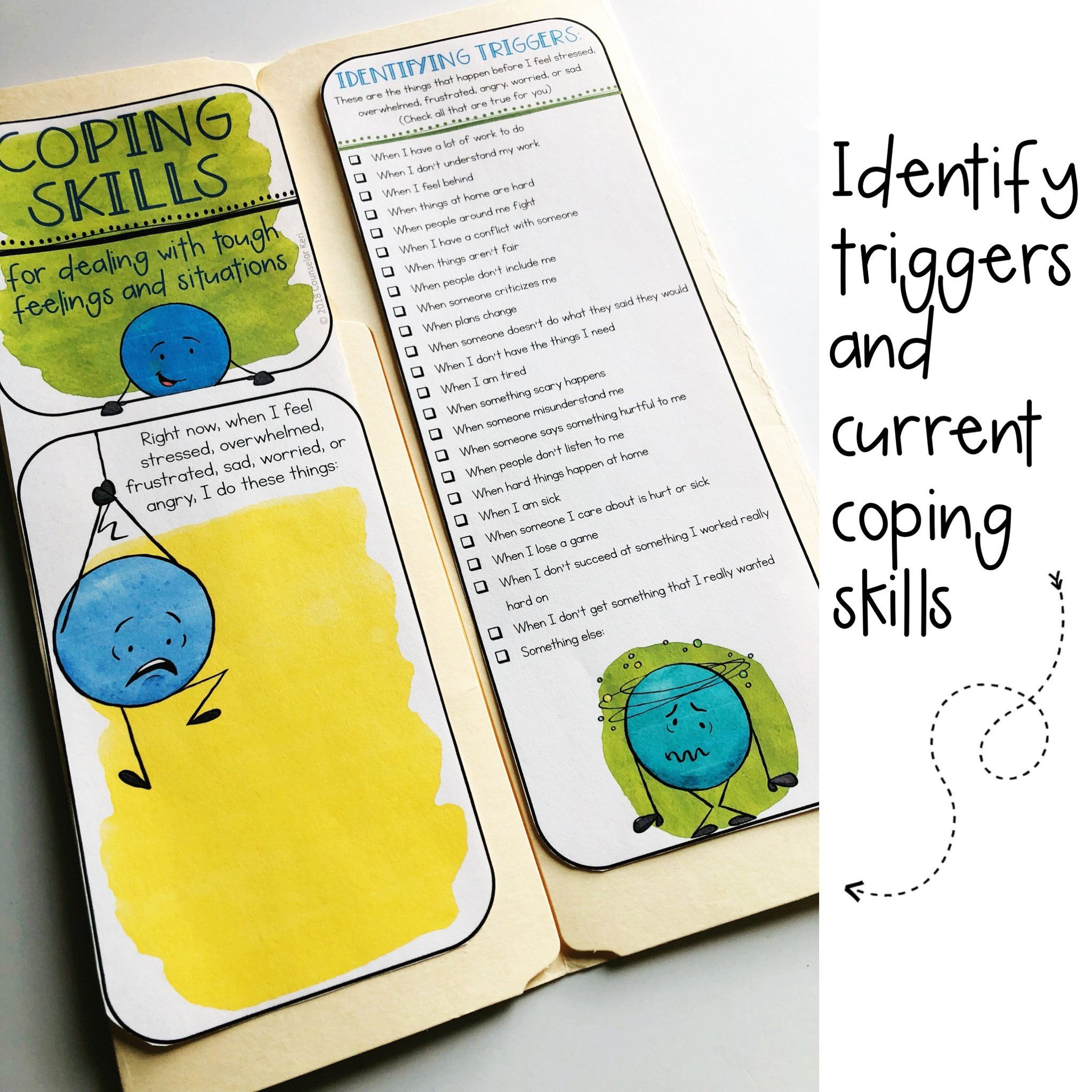 Coping Skills Lap Book With With Calming Strategies Cards