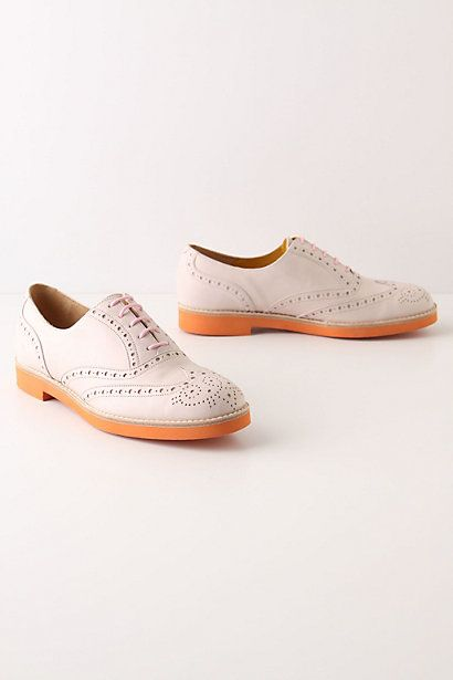 Unconventional Oxfords, Pink #anthropologie    They would be so cute with gray Linen shorts and a fun top