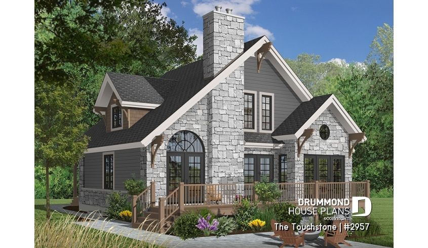 Discover the plan 2957 The Touchstone which will please you for its 3 bedrooms and for its Cottage chalet cabin styles