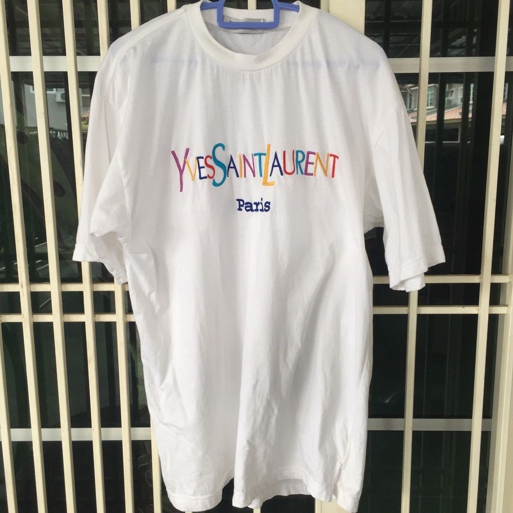 6a259d01b6a Vintage 90s Yves Saint Laurent YSL Embroidery Colorful Logo T Shirt Size L  | eBay