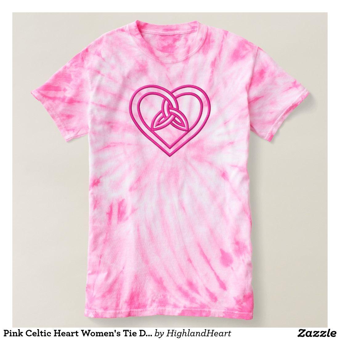 Pink Celtic Heart Women's Tie Dye T-shirt
