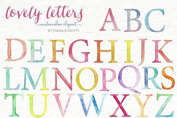 Download Watercolor Clip Art - Alphabet-Personal Use-Instant ...