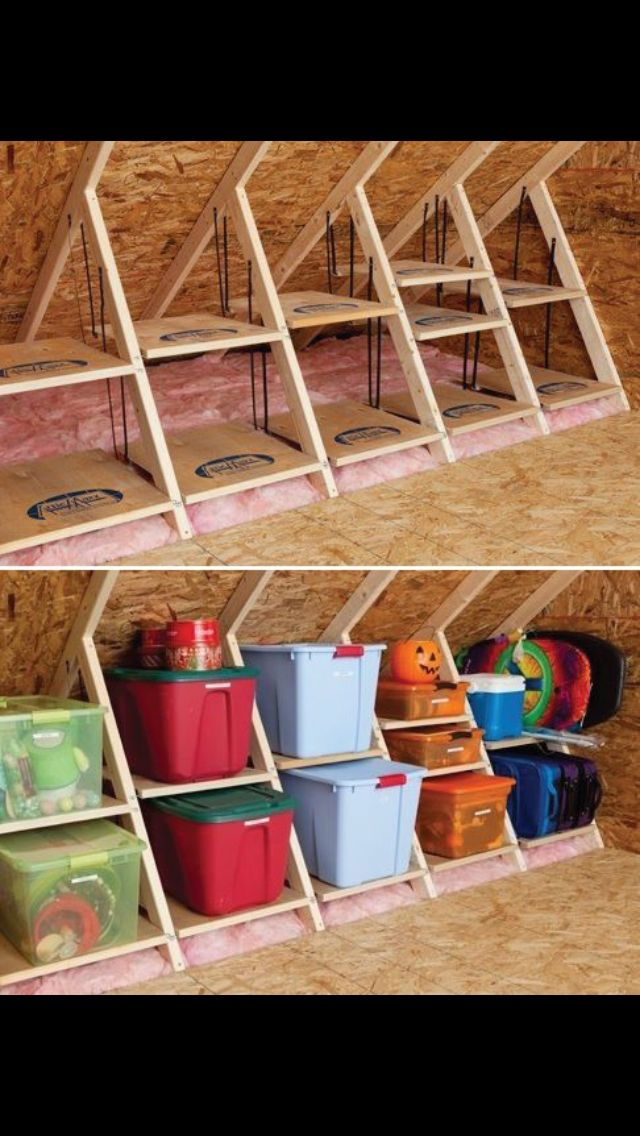 smart thinkin for angled walls tiny house storage attic on new garage organization ideas on a budget a little imagination id=81629