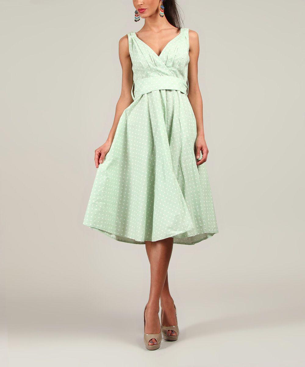 Green Polka Dot A-Line Dress