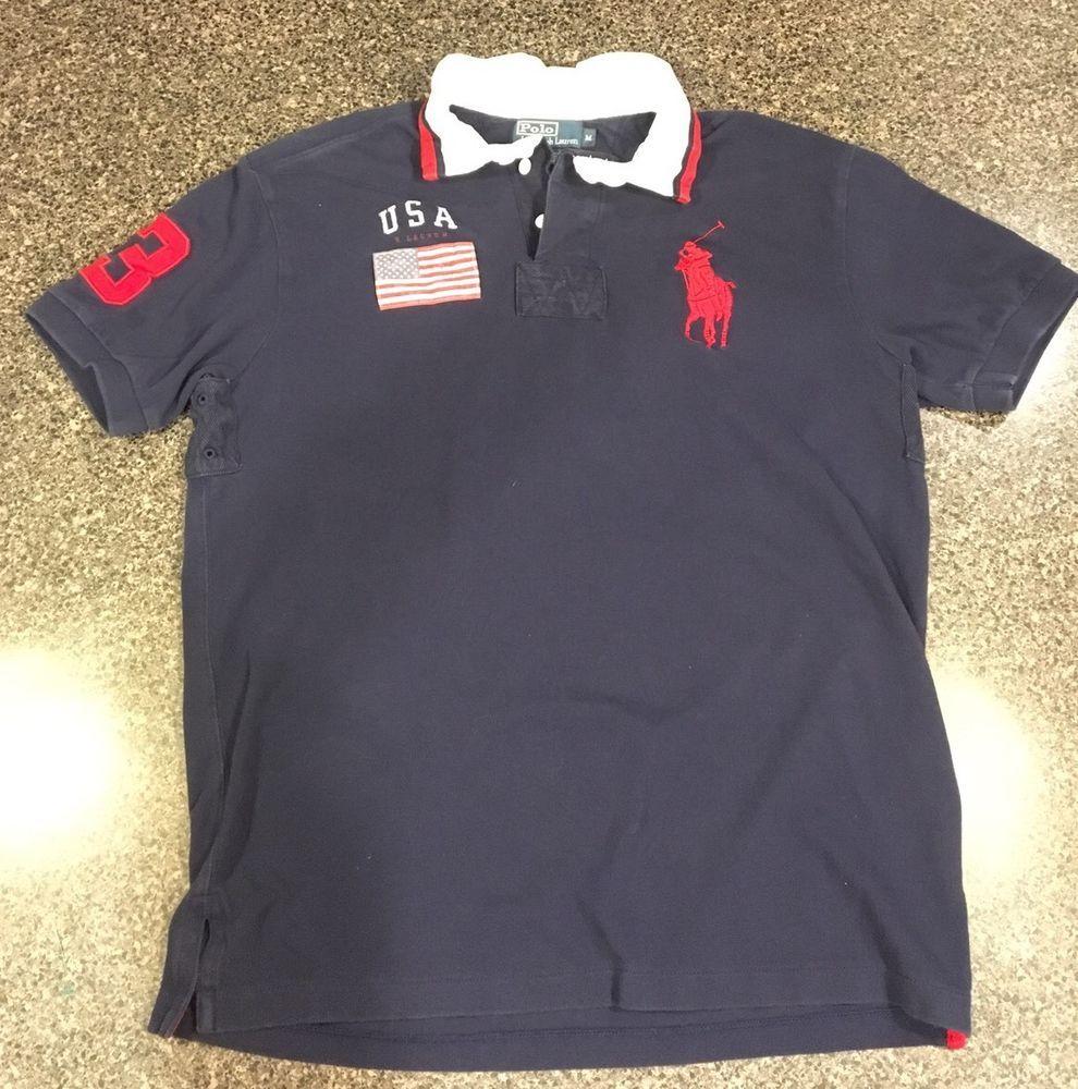 Vintage 90s Polo Ralph Lauren Big Pony Polo Shirt~Sz M~USA Flag