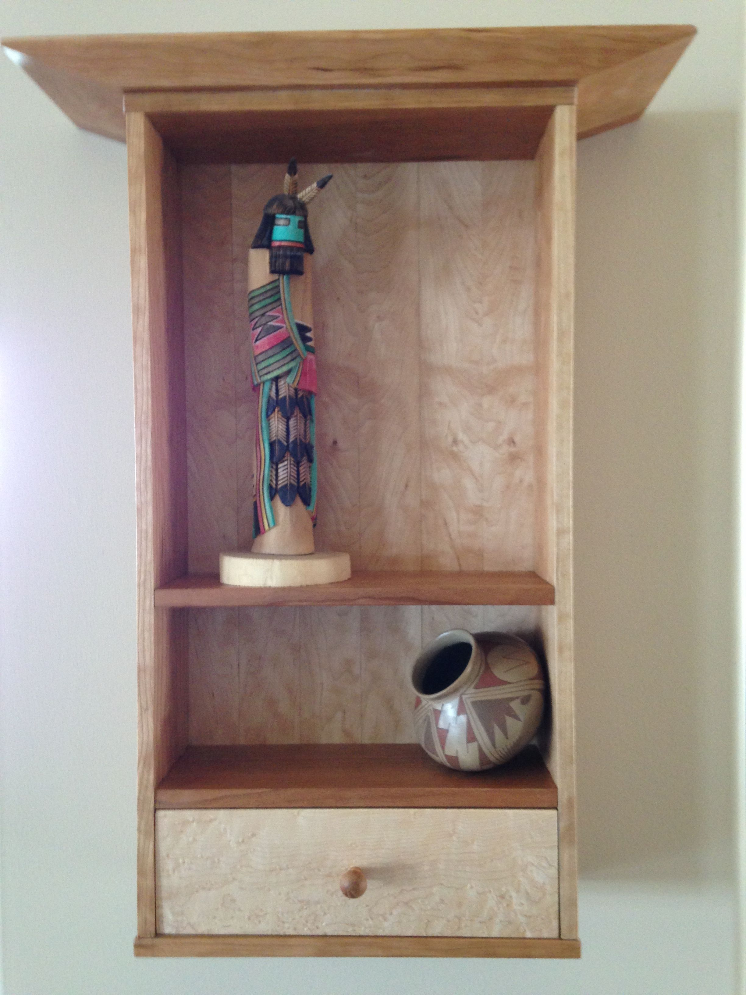 Cherry And Maple Wall Cabinet.