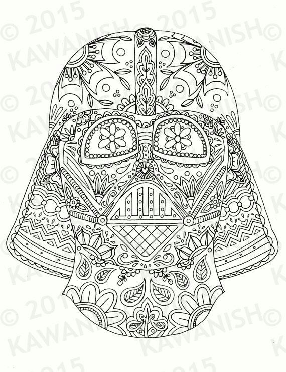 Day of the dead darth vader helmet coloring page | mandalas ...