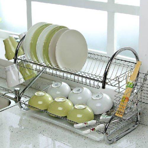2 Tier Chrome Plate Dish Cutlery Cup Drainer Rack Drip Tray Plates Holder Silver Kitchen Storage