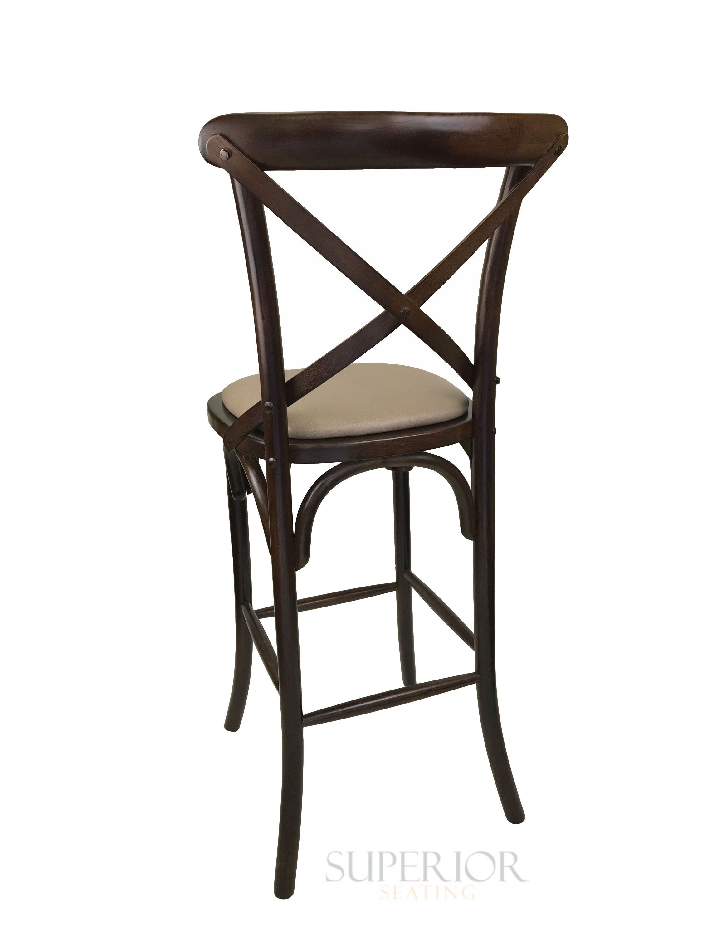 Rustic Walnut Wood Cross Back Commercial Bar Stool With  # Muebles Cafe Internet