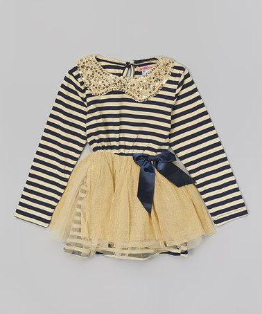 2e53912e43bd Another great find on  zulily! Navy Stripe Sequin Dress - Toddler ...
