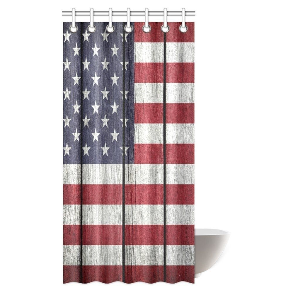 Usa Flag Shower Curtain United States Of America Flag On Old