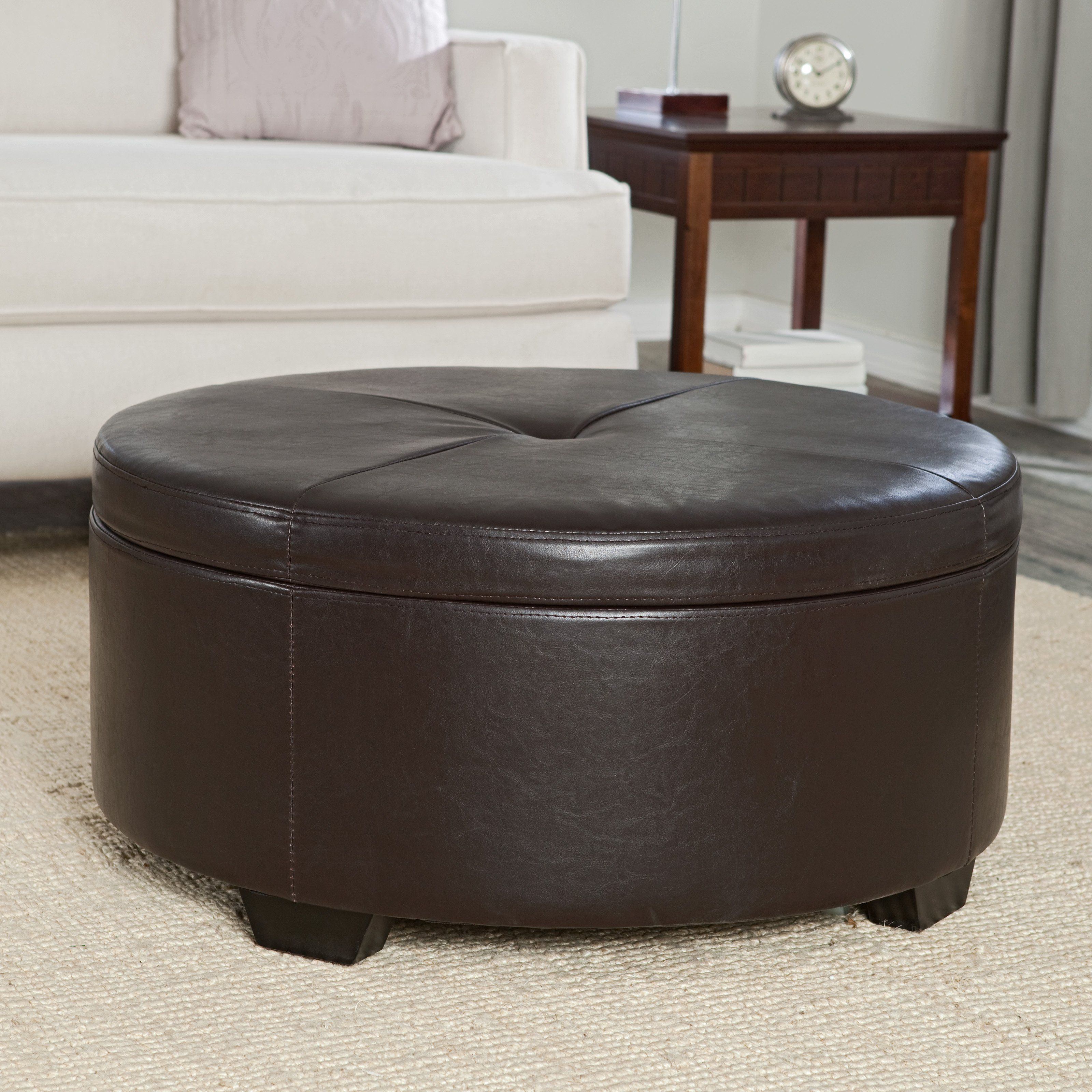 Oversized Leather Ottoman Coffee Table Collection Brown Leather Round Tufted Ot In 2020 Storage Ottoman Coffee Table Leather Ottoman Coffee Table Round Storage Ottoman