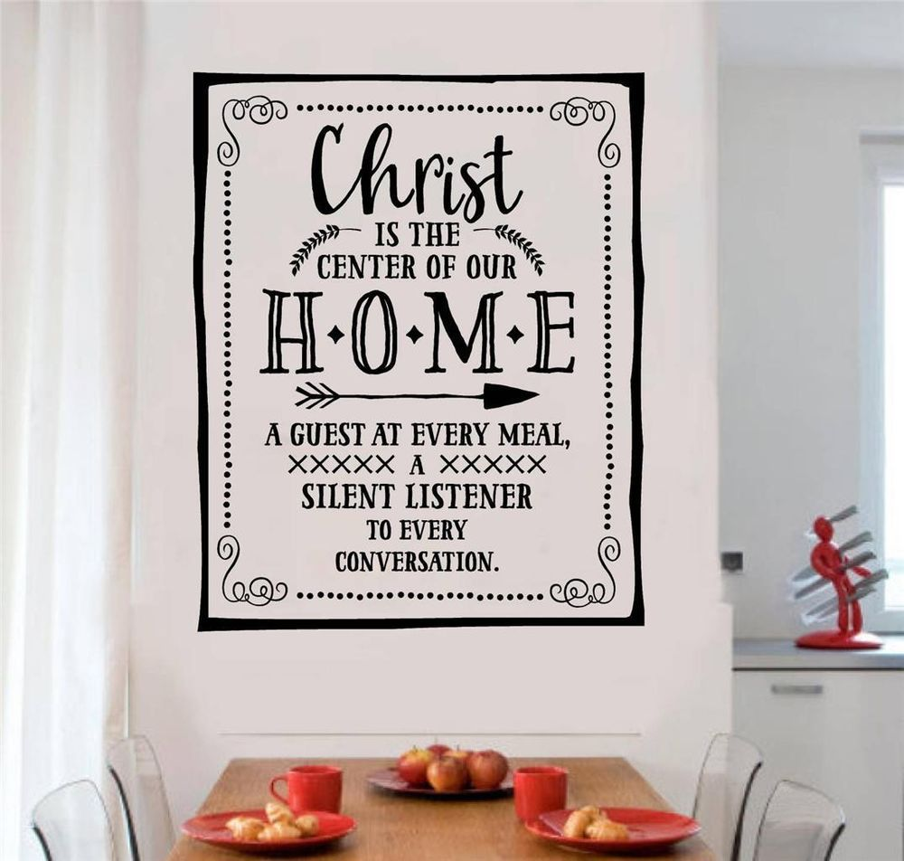 Christ Is The Center Of Our Home Vinyl Decal Wall Stickers Words Letter