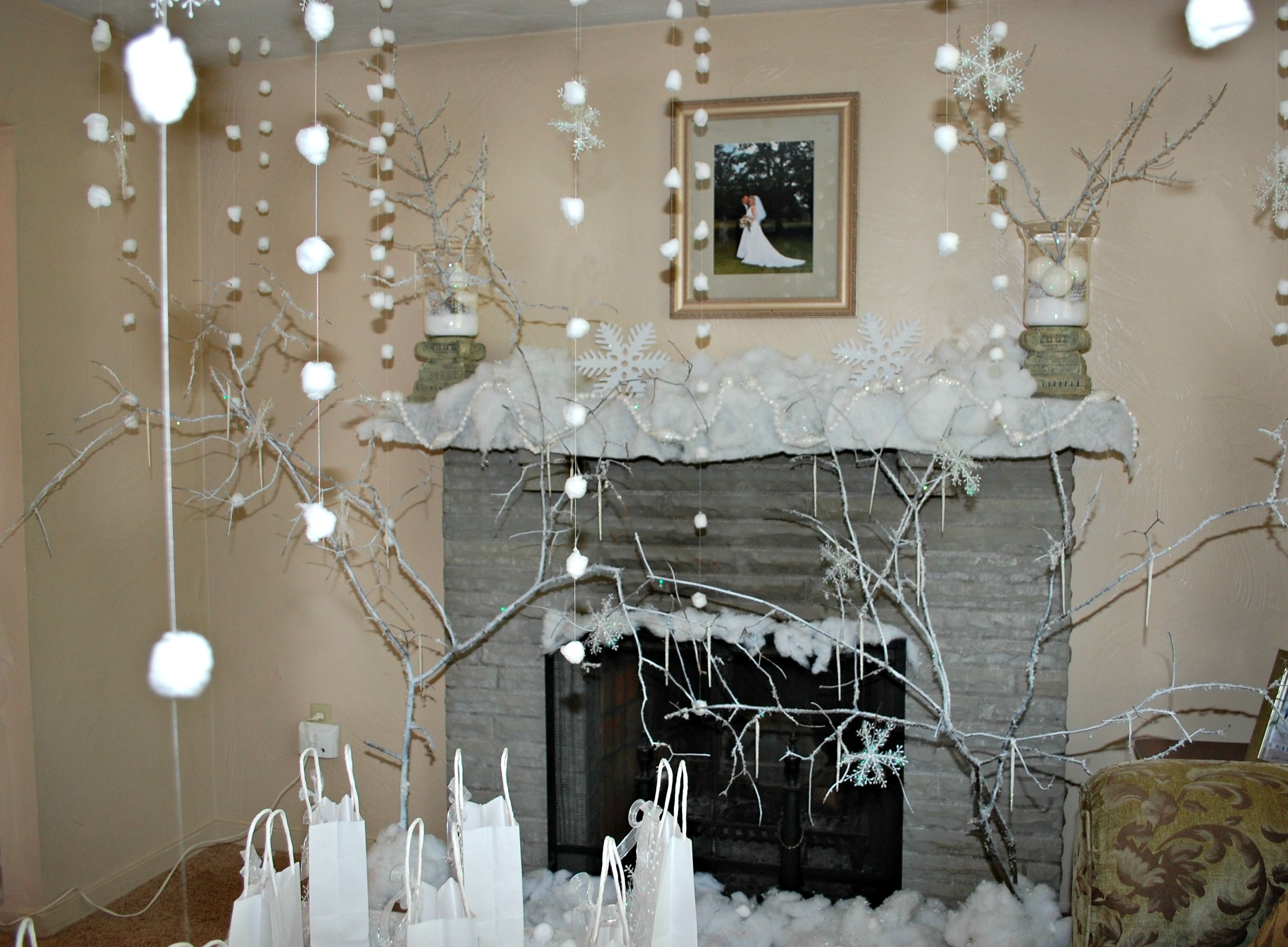 Cotton ball snow falling from the ceiling winter wonderland birthday party pinterest snow - Cotton ballspractical ideas ...