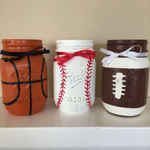 Classroom Jar Ideas : Sports themed mason jars basketball baseball by