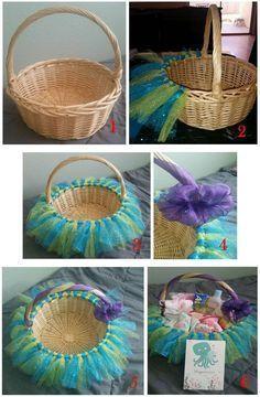 Kleine Meerjungfrau Tutu Basket   DIY Baby Dusche Geschenk Korb Idea ... - Baby deko #genderrevealideasforpartydiy