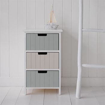 Beach Bathroom Free Standing Cabinet With Three Drawers