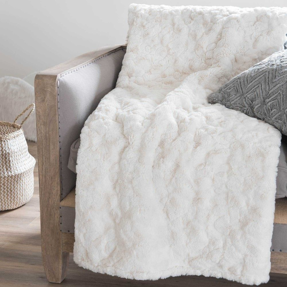 Couvre Lit Fausse Fourrure Blanc Textile Hiver Throw Pillows Pillows Et Soft Furnishings
