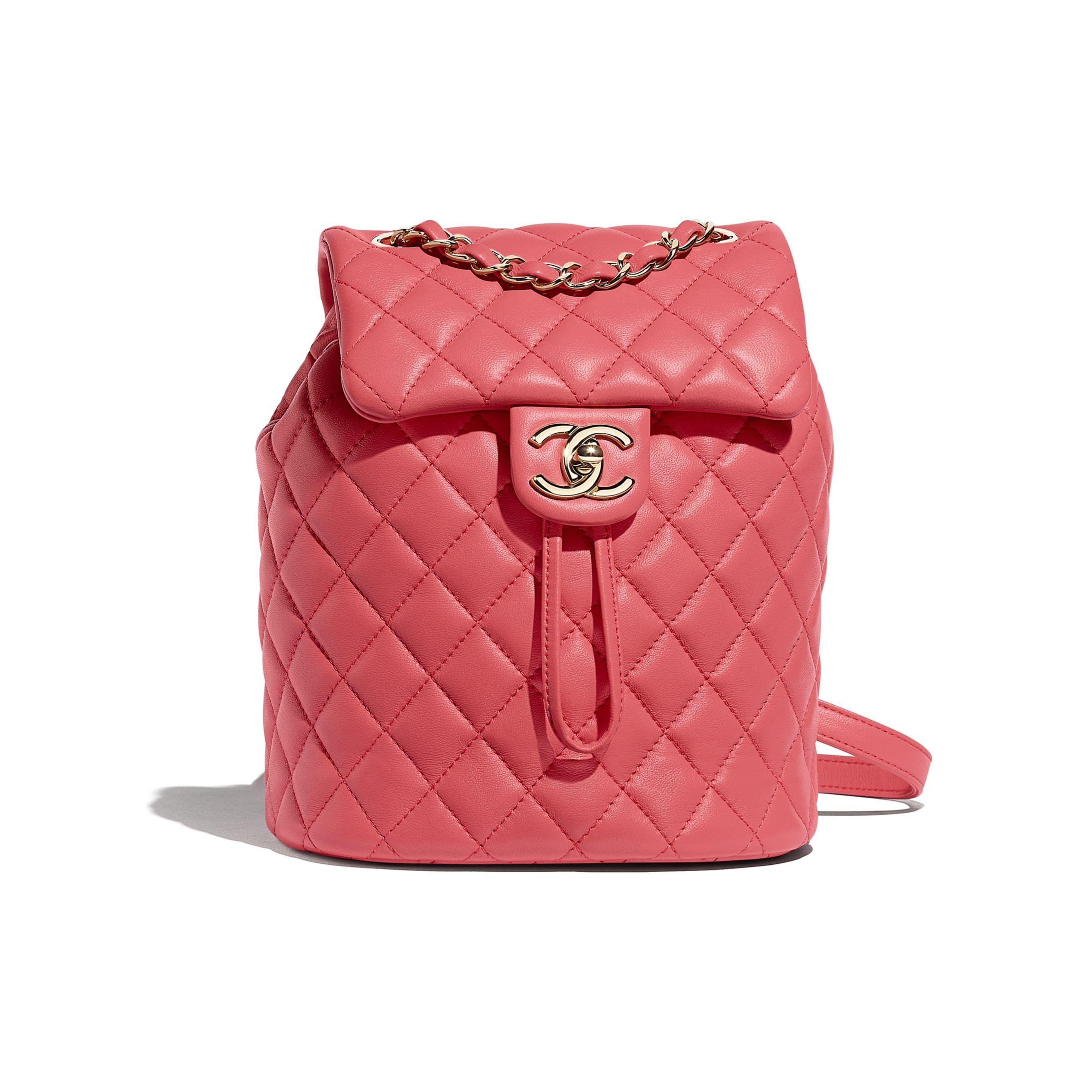 08848c84d9 Lambskin & Gold-Tone Metal Pink Backpack | CHANEL | Handbags ...