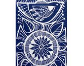 Peahen and Passionflower Original Linocut Relief Print. £45.00, via Etsy.
