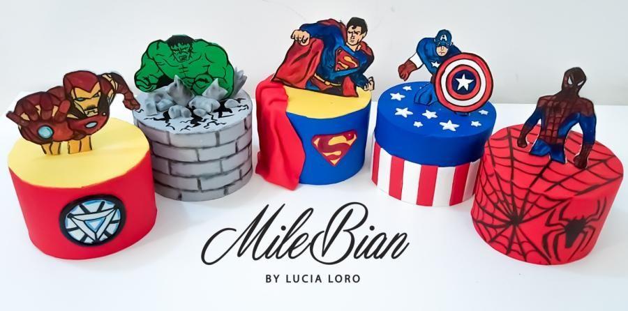 Superhero Mini Cakes by MileBian | Superhero birthday cake, Mini cakes birthday, Marvel cake