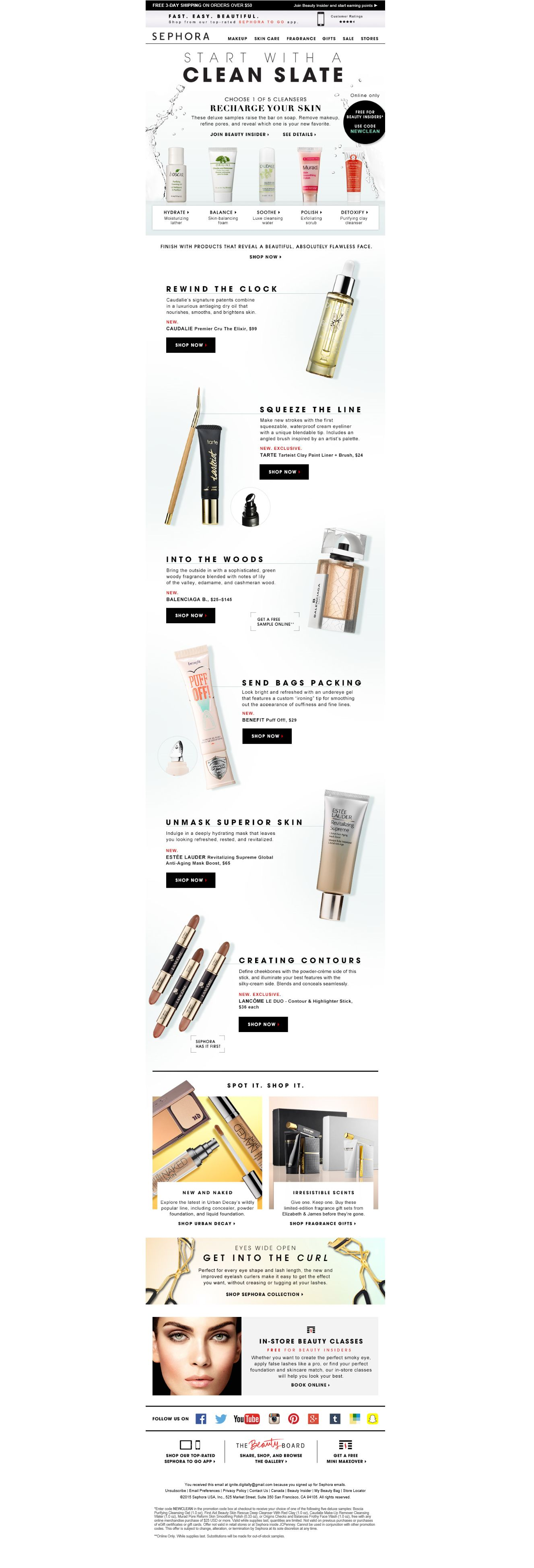 Clean Slate Email Marketing Layout Responsive Makeup Store Templates Newsletter Design Newsletters