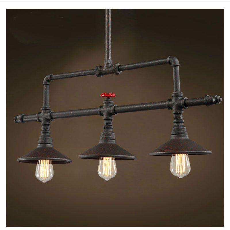 Polea de Hierro Forjado Retro americana Loft Lámparas E27 Luz ...
