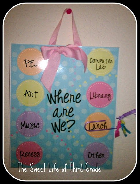Good idea to put outside of classroom door in case a visitor or parent comes by.