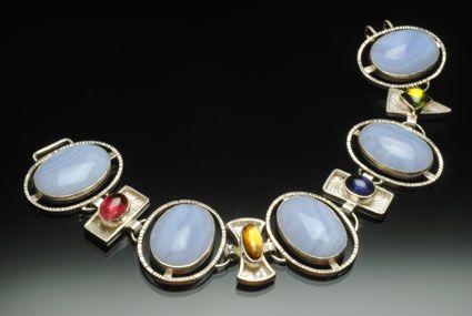 Blue lace agate, Tourmaline, Citrine, Iolite, Peridot,  S.S., Yumi Ueno Art Jewelry