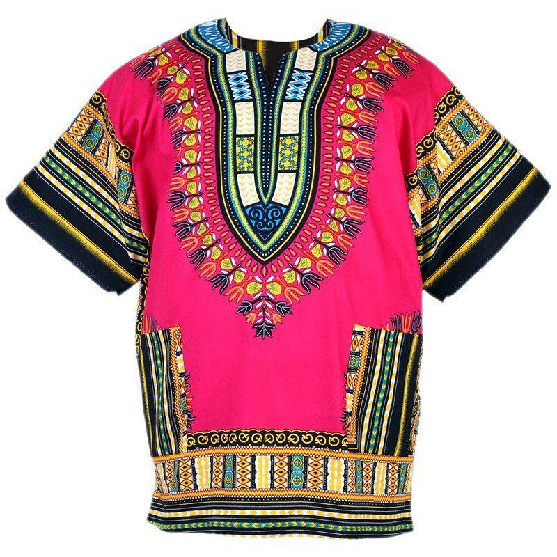 c256676ba69 Pink Plus Size Unisex African Dashiki Shirt (Size 4XL)