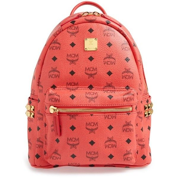 MCM 'Small Stark' Side Stud Backpack (£445) ❤ liked on Polyvore featuring bags, backpacks, backpack, mcm, red, mcm backpack, paper bag, padded backpack, pocket bag and mcm bags