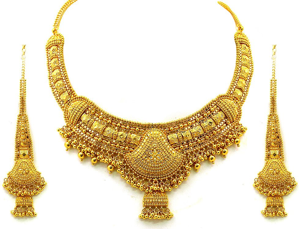 Antique Indian Gold Plated Stones Kundan Necklace Earrings ...  |Indian Gold Pendants