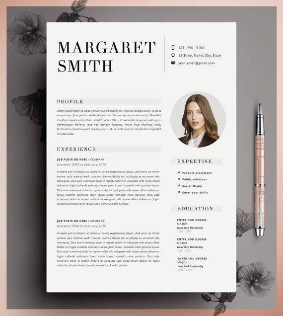 Resume Template, CV Template Editable in MS Word and Pages - portfolio word template
