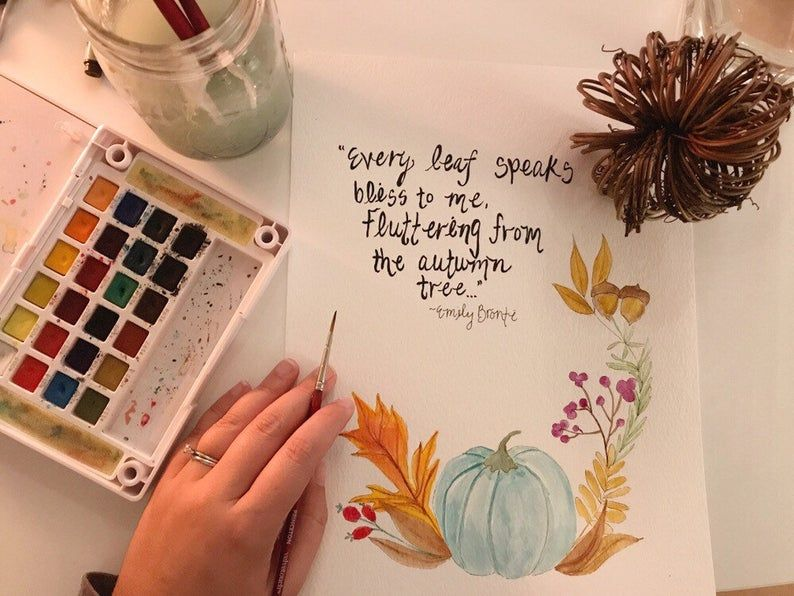 Fall wreath watercolor painting [ emily bronte quote] autumn leaves falling , pumpkins, acorns and berries , 11x14 inches #autumnleavesfalling