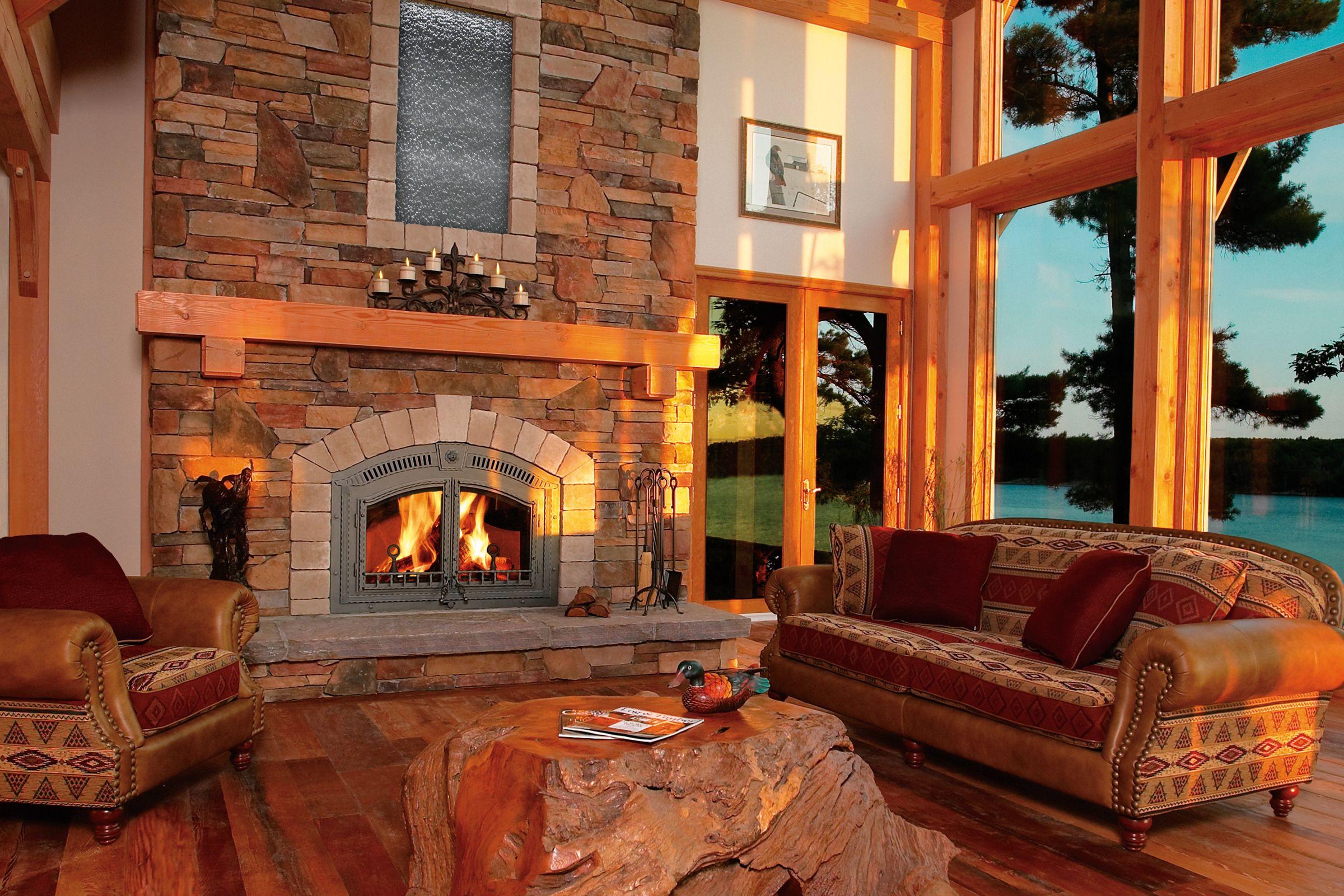 Beautiful rustic wood burning fireplace gas fireplace