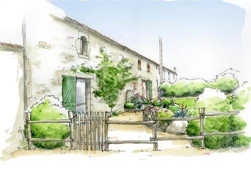 dessin jardin accueil façade - maison campagne -    wwwpreaud